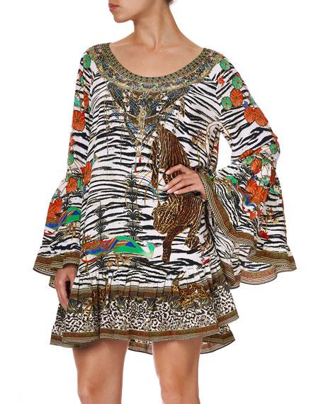 Camilla Mixed-Print A-Line Silk Frill Dress