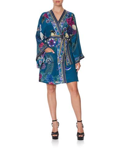 Printed Silk Kimono w/ Belt