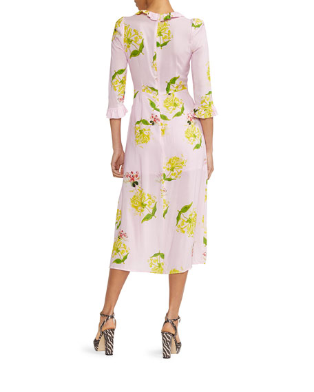 Cynthia Rowley Elena Floral Print 3/4-Sleeve Midi Dress