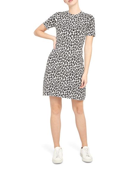 Image 1 of 4: Theory Leopard-Print Tee Dress