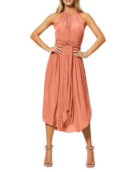 Ramy Brook Mel Studded Sleeveless Midi Dress