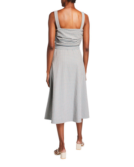 Veronica Beard Positano Check Square-Neck Dress