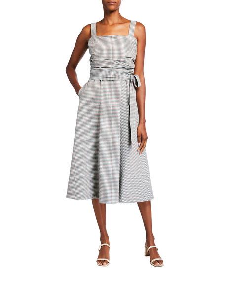 Veronica Beard Positano Check Square-Neck Dress