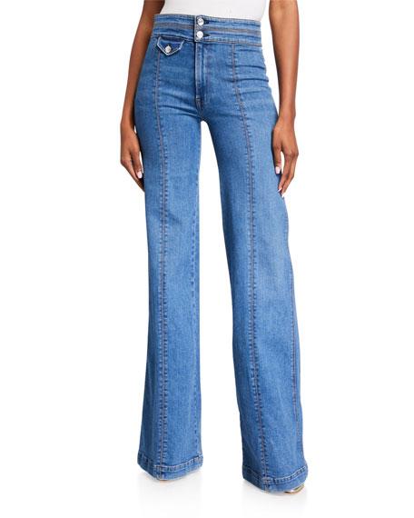 Veronica Beard Ember Wide-Leg Jeans w/ Contrast Seams