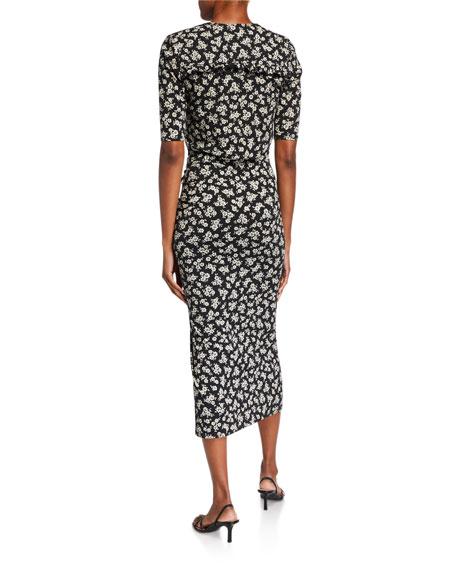 Veronica Beard Mariposa 3/4-Sleeve Floral Midi Dress