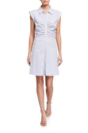 Veronica Beard Ferris Striped Button-Down Dress