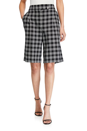 Veronica Beard Saira Check Culotte Shorts
