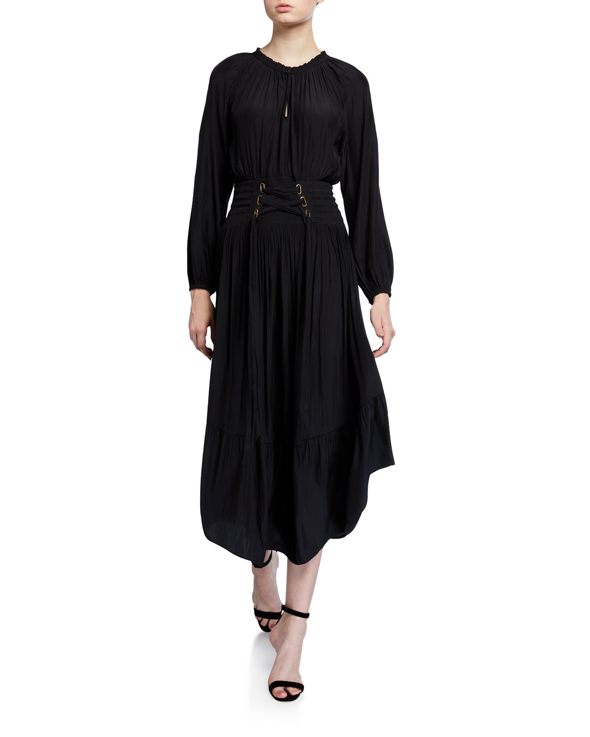 Ramy Brook Morgen Long-Sleeve Dress w/ Lace-Up Waist