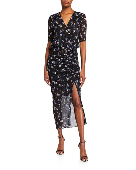 Veronica Beard Mariposa Floral-Print Ruched Dress