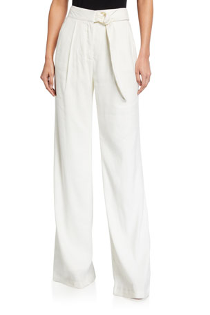 Veronica Beard Wood High-Rise Belted Pants