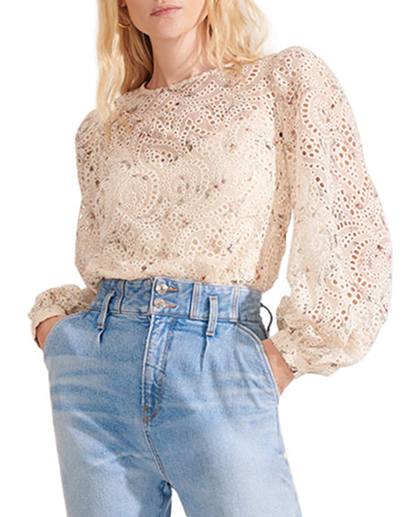 Image 2 of 4: Veronica Beard Azar Floral Eyelet Long-Sleeve Top