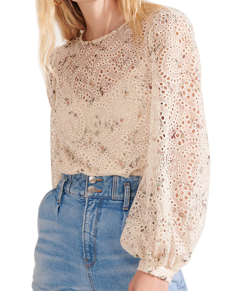 Image 3 of 4: Veronica Beard Azar Floral Eyelet Long-Sleeve Top