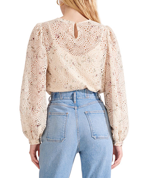 Image 4 of 4: Veronica Beard Azar Floral Eyelet Long-Sleeve Top