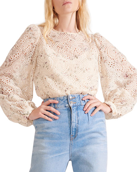 Image 1 of 4: Veronica Beard Azar Floral Eyelet Long-Sleeve Top