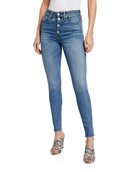 Image 1 of 3: Rag & Bone Nina High-Rise Skinny Jeans w/ Button Fly