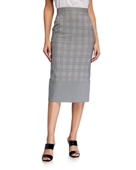 Veronica Beard Twain Check Midi Skirt