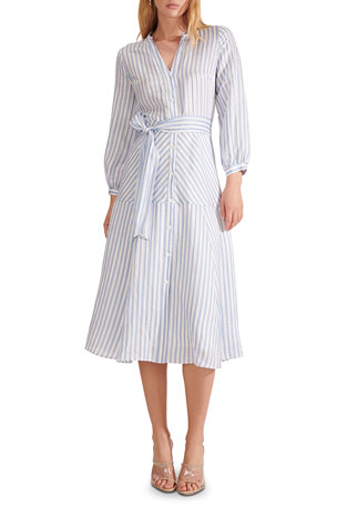 Veronica Beard Jenna Striped Tie-Waist Dress