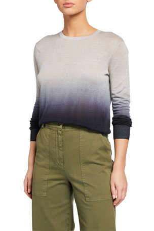 Theory Ombre Crewneck Linen Top