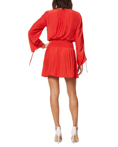 Ramy Brook Lily Smocked-Waist V-Neck Dress