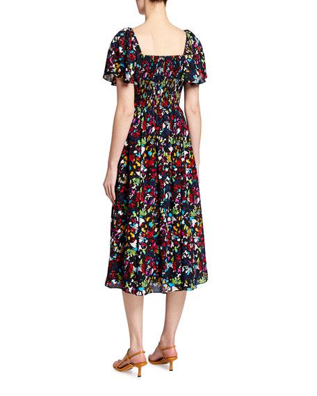 Tanya Taylor Glenda Smocked Square-Neck Midi Dress