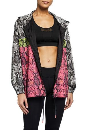 Pam & Gela Colorblocked Snake Print Wind-Resistant Jacket