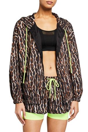 Pam & Gela Leopard-Print Zip-Front Track Jacket
