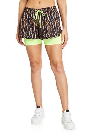 Pam & Gela Leopard-Print Twofer Workout Shorts