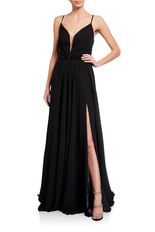 Faviana Deep V-Neck Beaded-Waist Lace-Up Chiffon Gown