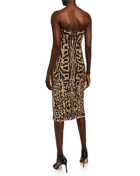 Jay Godfrey Thompson Animal Sequin Strapless Dress