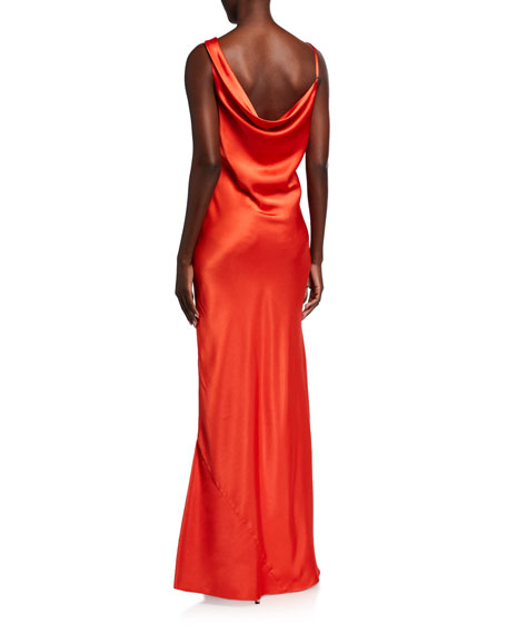 Jay Godfrey Justine Hammered Satin Cowl-Neck Gown