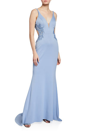 Faviana V-Neck Sleeveless Cutout-Back Neoprene Gown