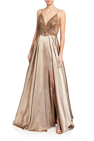 Faviana Deep V-Neck Sheer Applique Bodice Charmeuse Gown