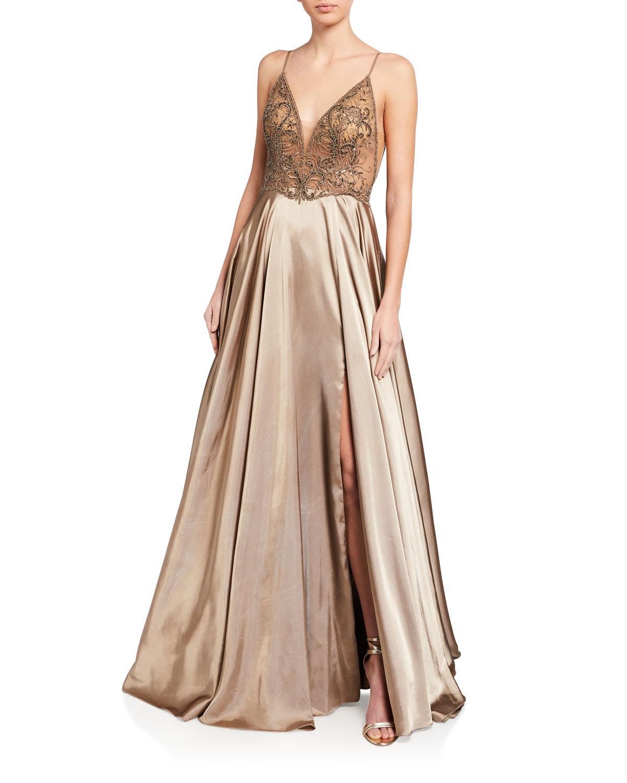 Faviana Deep V-Neck Sheer Applique Bodice Charmeuse Gown