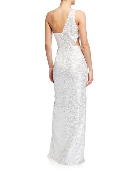 Image 2 of 2: Aidan by Aidan Mattox Sequin One-Shoulder Column Gown