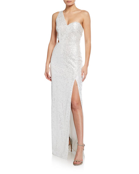Image 1 of 2: Sequin One-Shoulder Column Gown