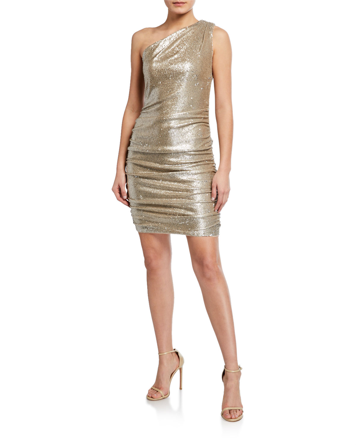 Aidan by Aidan Mattox Sequin One-Shoulder Dress w/ Ruched Sides