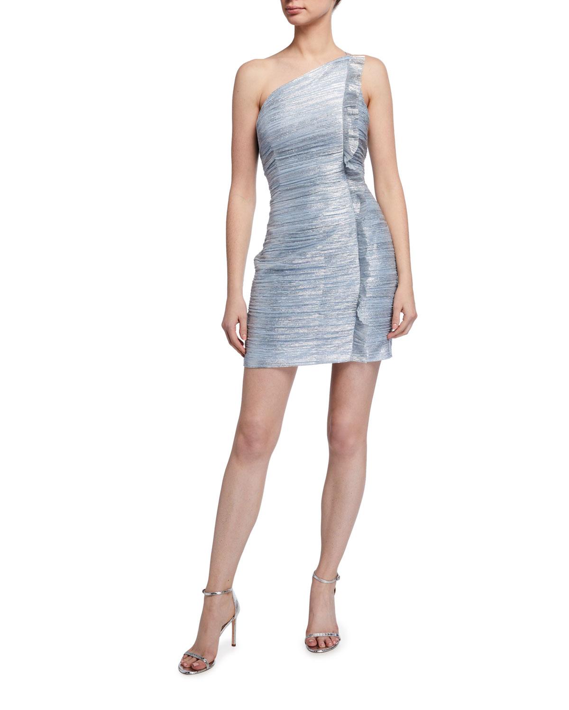 Aidan by Aidan Mattox Spaghetti-Strap One-Shoulder Twist Metallic Dress