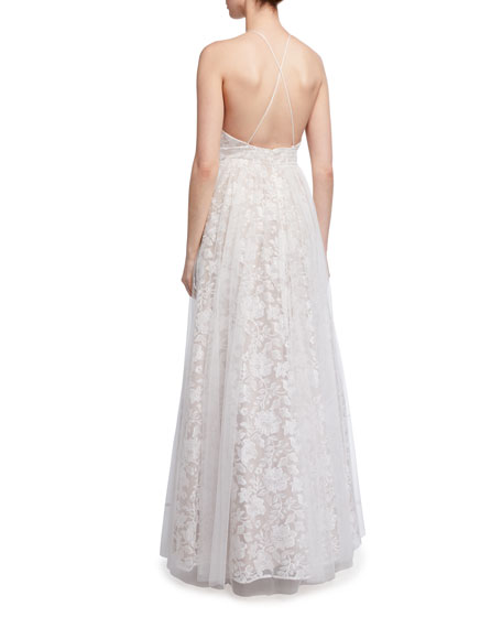 Aidan by Aidan Mattox Plunging Floral Embroidered Mesh Covered Ball Gown