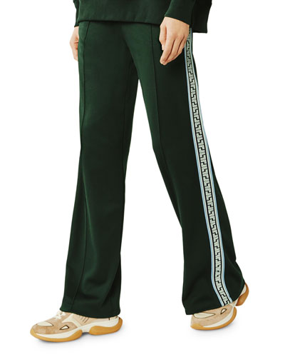 Wide-Leg Geo T Logo Tape Track Pants