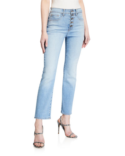 Carolyn Button-Fly Crop Jeans