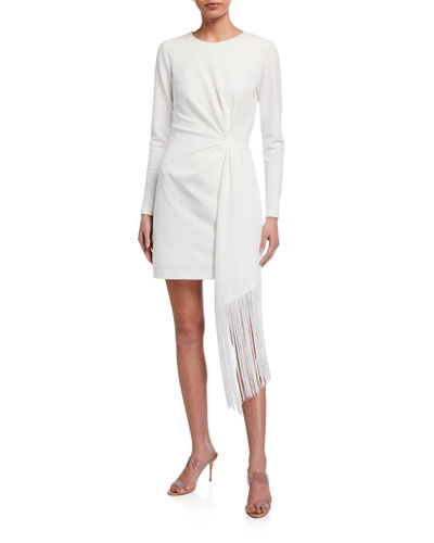 Long-Sleeve Matte Jersey Dress w/ Fringe Side-Drape Detail