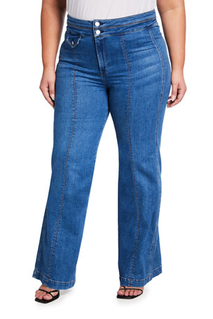 Veronica Beard Plus Size Ember Wide-Leg Jeans w/ Seam Detail