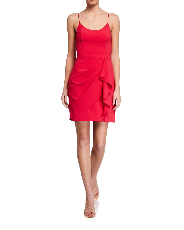 Parker Black Myrtle Spaghetti-Strap Drape-Front Dress