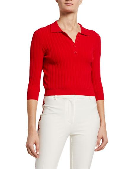 PINKO Ribbed 3/4-Sleeve Polo Sweater