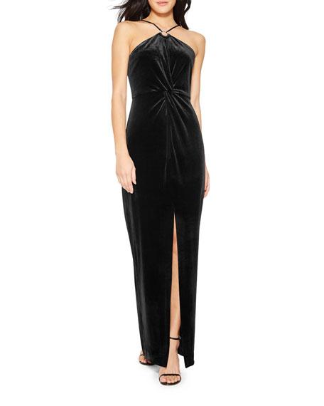 Parker Black Kiera Halter Column Dress