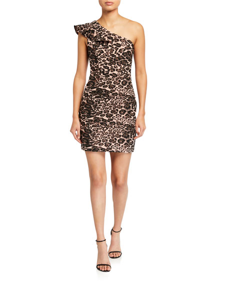 Image 1 of 2: Parker Black Jojo Leopard-Print One-Shoulder Mini Dress