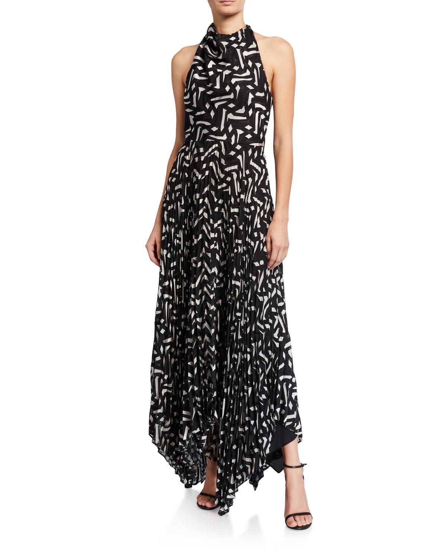 Halston Geometric Burnout Pleated Satin Cowl-Front Halter Dress