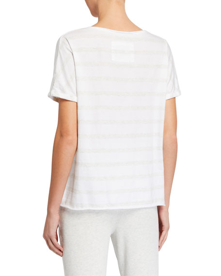 Image 2 of 2: Frank & Eileen Tee Lab Deep V-Neck Tonal Stripe Short-Sleeve Jersey Tee