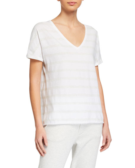 Image 1 of 2: Frank & Eileen Tee Lab Deep V-Neck Tonal Stripe Short-Sleeve Jersey Tee