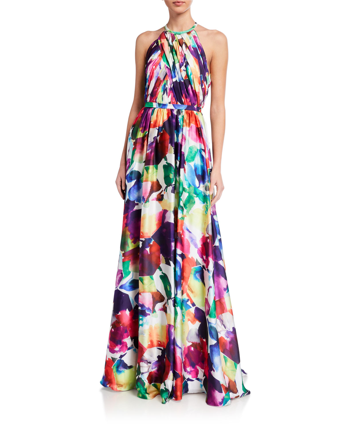 Love  Theia Geometric Watercolor Printed Charmeuse Halter Gown